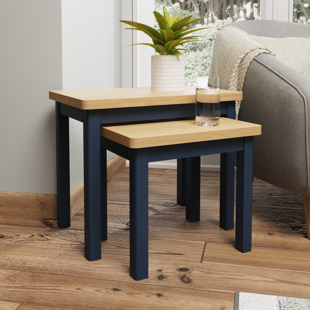 Portland Oak and Blue Painted Nest of 2 Tables