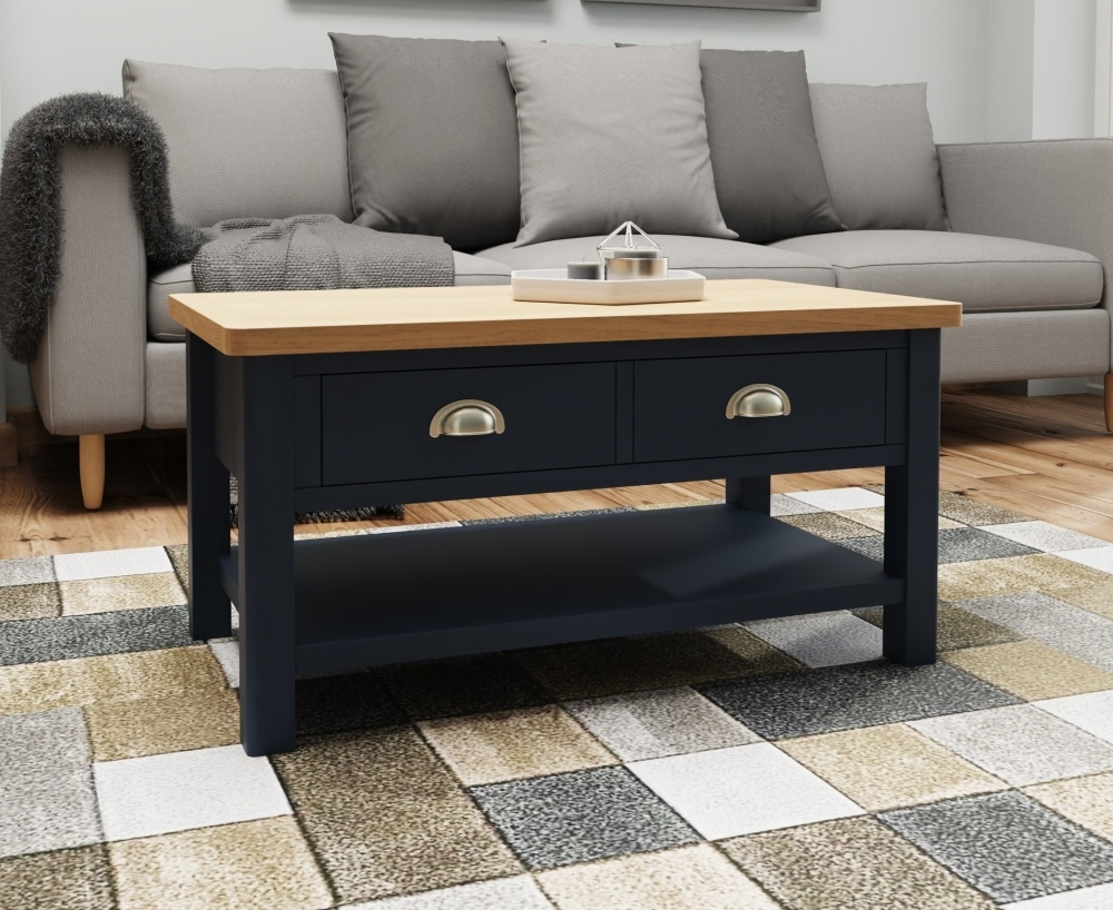 Portland Oak and Blue Painted Storage Coffee Table