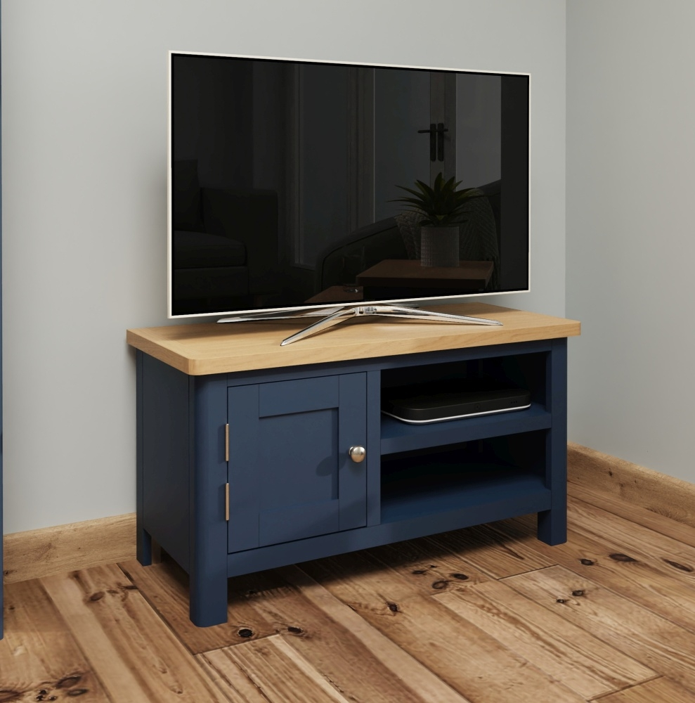 Portland Oak and Blue Painted TV Unit