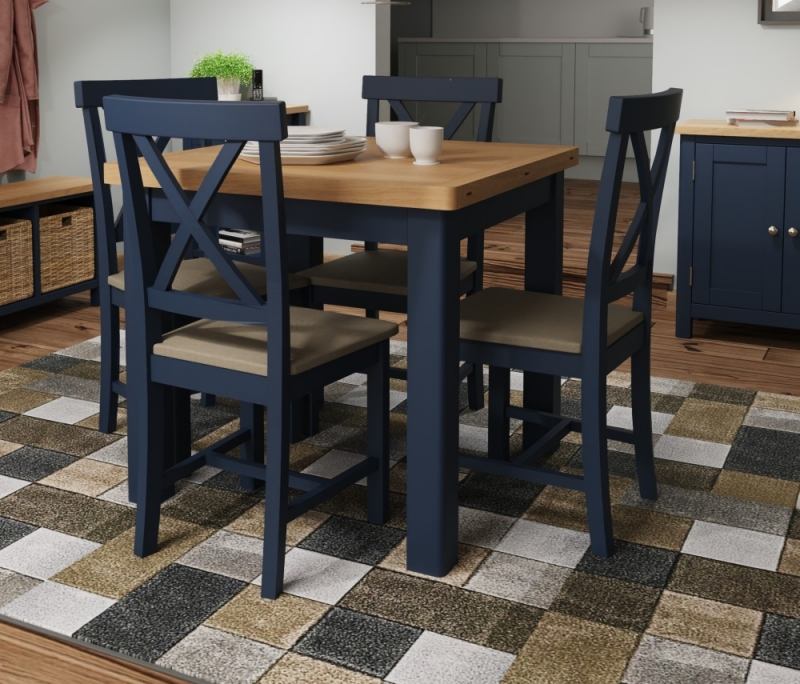 Portland Oak and Blue Painted Flip Top Square Dining Table
