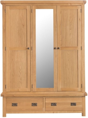 Tucson Oak 3 Door 2 Drawer Wardrobe