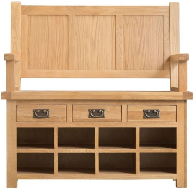 Tucson Oak 3 Drawer Monks Bench