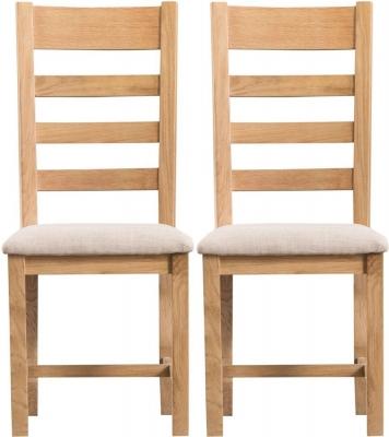 Tucson Oak Ladder Back Fabric Seat Dining Chair (Pair)