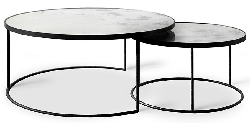 Notre Monde Clear Heavy Aged Mirror Round Nesting Coffee Table Set