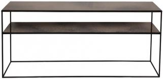 Notre Monde Bronze Copper Leaf Heavy Aged Mirror Rectangular Sofa Console Table