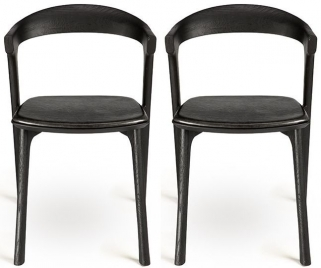 Ethnicraft Oak Bok Black Leather Dining Chair (Pair)