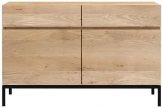Ethnicraft Oak Ligna 2 Door 2 Drawer Sideboard with Black Metal Legs