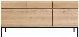 Ethnicraft Oak Ligna 3 Door 3 Drawer Sideboard with Black Metal Legs