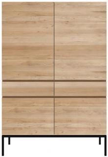 Ethnicraft Oak Ligna 4 Door 2 Drawer Storage Cupboard with Black Metal Legs