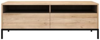 Ethnicraft Oak Ligna 2 Drawer TV Cupboard with Black Metal Legs