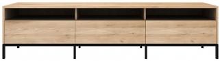 Ethnicraft Oak Ligna 3 Drawer TV Cupboard with Black Metal Legs