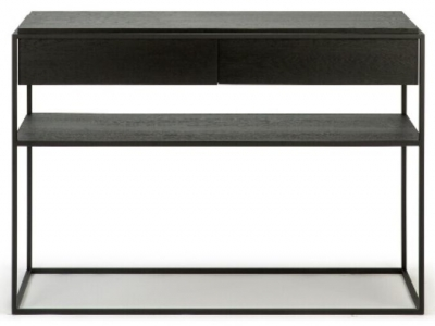 Ethnicraft Oak Monolit Black 2 Drawer Console Table