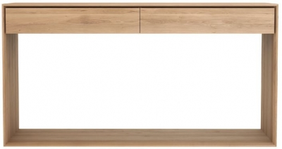 Ethnicraft Oak Nordic 2 Drawer Large Console Table