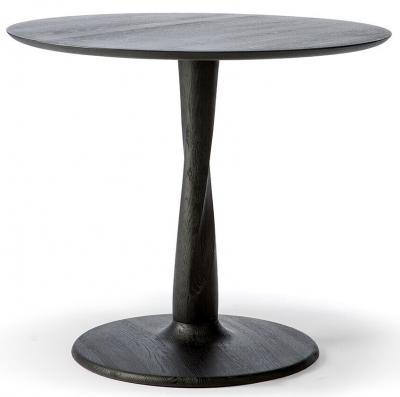 Ethnicraft Oak Torsion Black Round Medium Dining Table