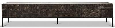 Ethnicraft Teak Ancestors Tabwa 1 Flip Down Door 2 Drawer TV Cupboard