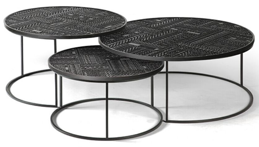 Ethnicraft Teak Ancestors Tabwa Round Nesting Coffee Table (Set of 3)