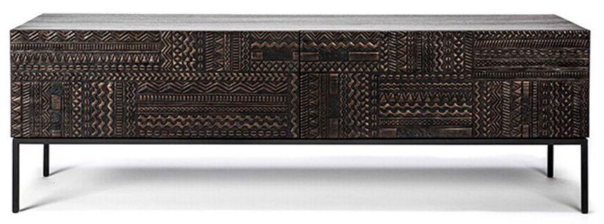 Ethnicraft Teak Ancestors Tabwa 1 Flip Down Door 1 Drawer TV Cupboard