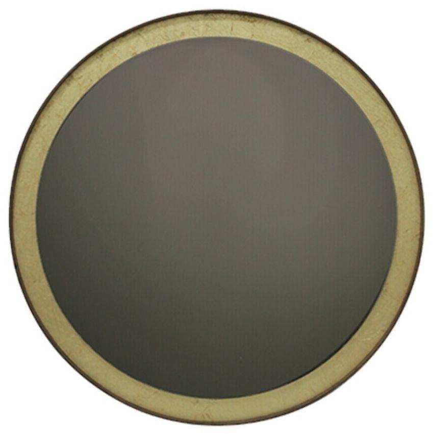 Notre Monde Bronze Gold Leaf Wooden Frame Round Wall Mirror - 35cm