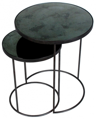 Notre Monde Charcoal Heavy Aged Mirror Round Nesting Side Table Set