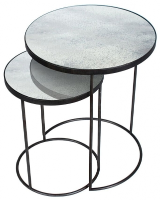 Notre Monde Clear Heavy Aged Mirror Round Nesting Side Table Set