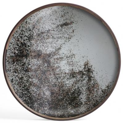 Notre Monde Heavy Aged Small Round Mirror Tray