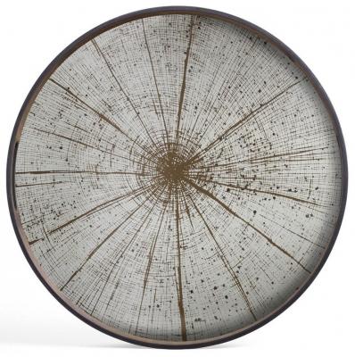 Notre Monde Slice Small Round Light Aged Mirror Tray