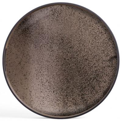 Notre Monde Bronze Small Round Heavy Aged Mirror Tray