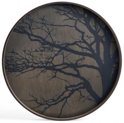 Notre Monde Black Tree Large Round Driftwood Tray