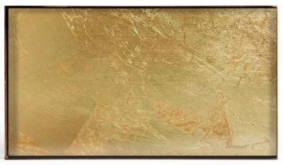 Notre Monde Gold Leaf Metal Rim Medium Rectangular Mini Glass Tray (Set of 5)