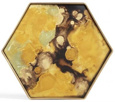 Notre Monde Yellow Organic Metal Rim Small Hexagonal Glass Tray (Set of 5)