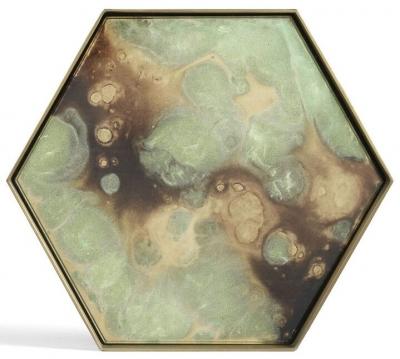 Notre Monde Moss Organic Metal Rim Medium Hexagonal Glass Tray (Set of 5)