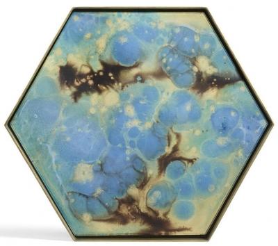 Notre Monde Teal Organic Metal Rim Large Hexagonal Glass Tray (Set of 5)