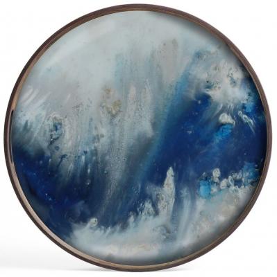 Notre Monde Blue Mist Organic Small Round Glass Tray