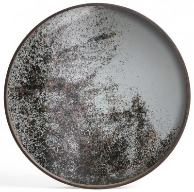 Notre Monde Heavy Aged Large Round  Mirror Tray