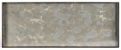 Notre Monde Fossil Organic Metal Rim Large Rectangular Mini Glass Tray (Set of 5)