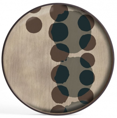 Notre Monde Slate Layered Dots Large Round Glass Tray
