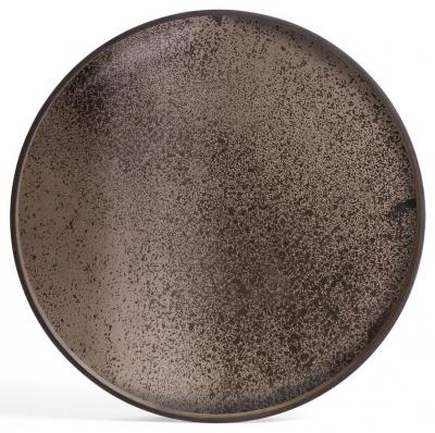 Notre Monde Heavy Aged Bronze Extra Large Round Mirror Tray
