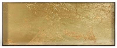 Notre Monde Gold Leaf Metal Rim Large Rectangular Mini Glass Tray (Set of 5)