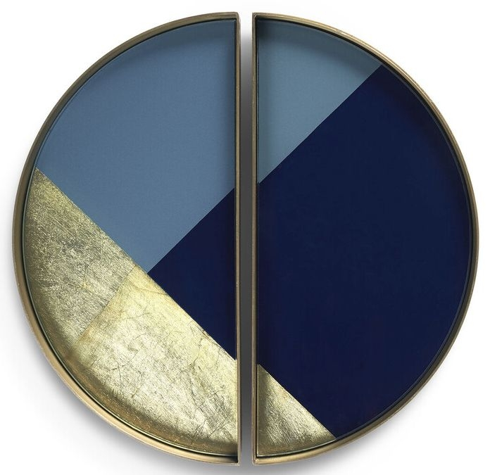 Notre Monde Geometric 2 Half Moon Metal Rim Small Glass Tray (Set of 5)