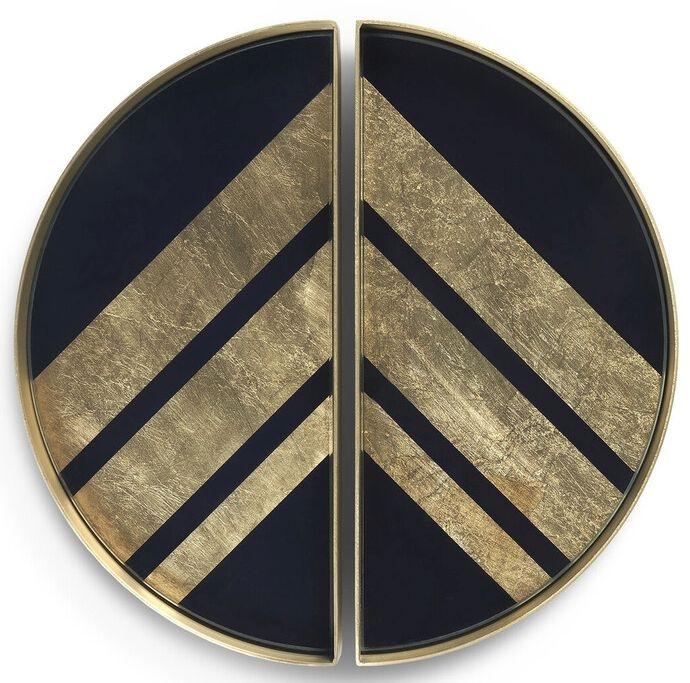 Notre Monde Chevron 2 Half Moon Metal Rim Small Glass Tray (Set of 5)