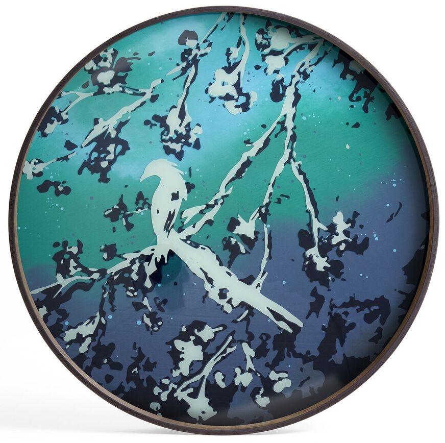 Notre Monde Birds of Paradise Large Round Glass Tray