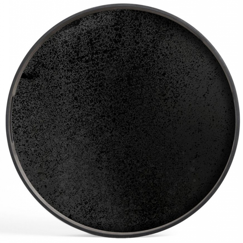 Notre Monde Charcoal Heavy Aged Small Round Mirror Tray