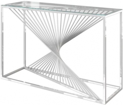Abstract Glass and Chrome Console Table