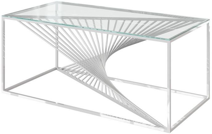 Abstract Glass and Chrome Coffee Table