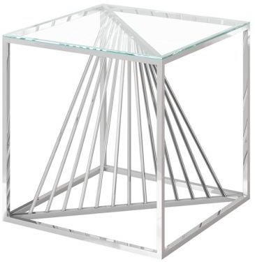 Abstract Glass and Chrome Side Table