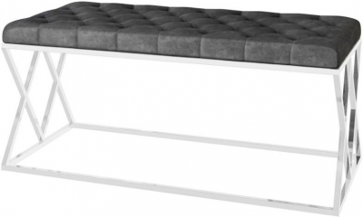 Adele Dark Grey Plush Velvet and Chrome Bench
