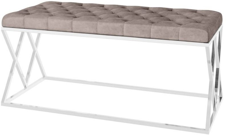Adele Mink Plush Velvet and Chrome Bench