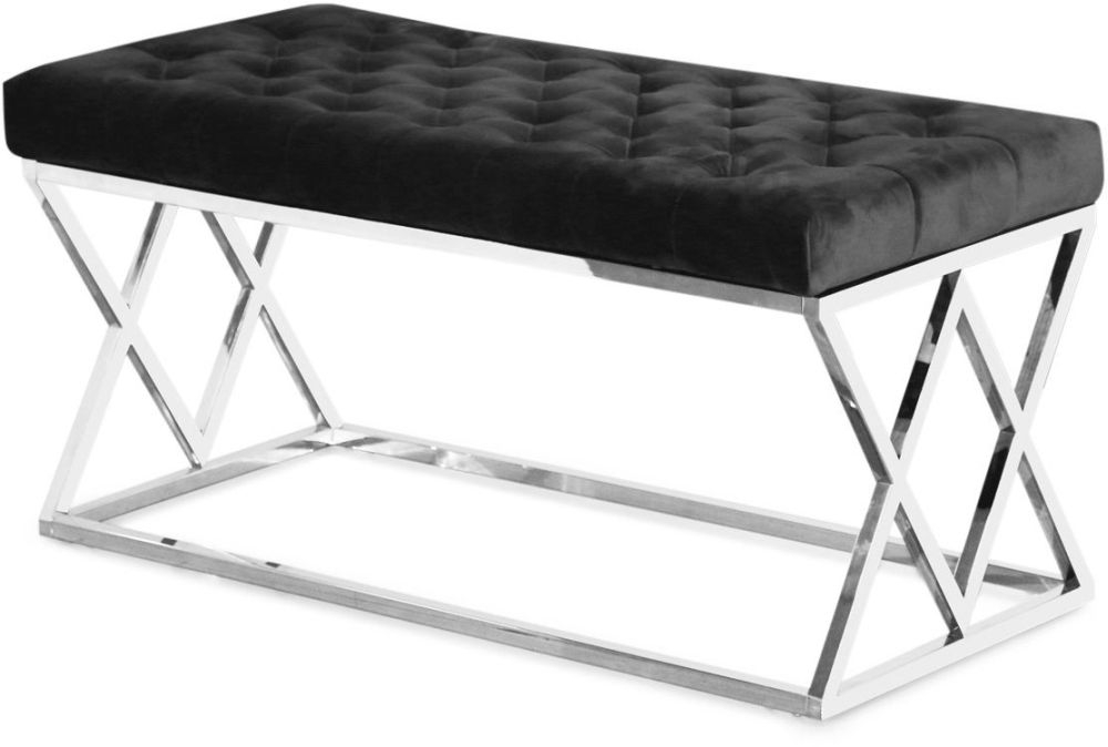 Adele Plush Velvet Bench - Black and Chrome