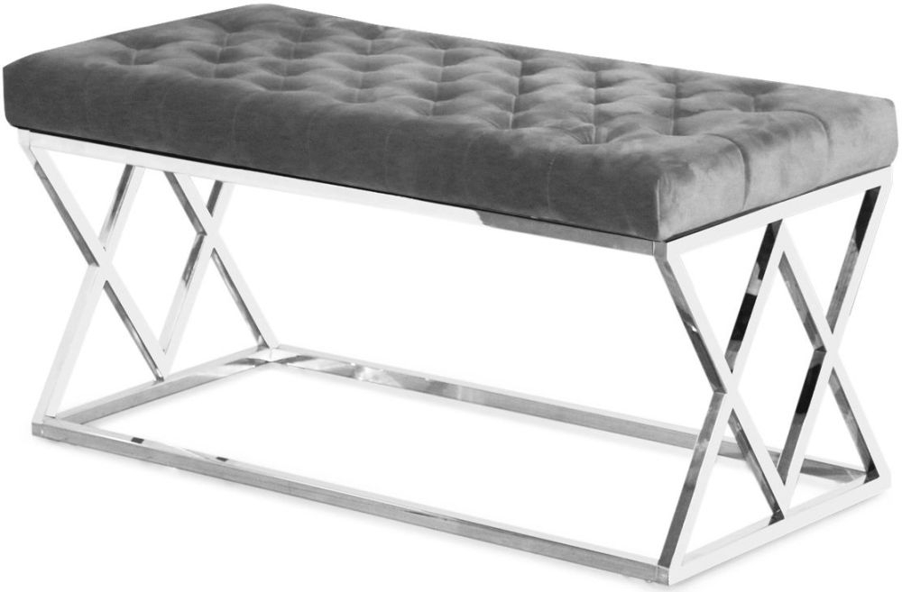 Adele Plush Velvet Bench - Grey and Chrome