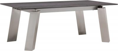 Agata Coffee Table - Grey Ceramic and Chrome
